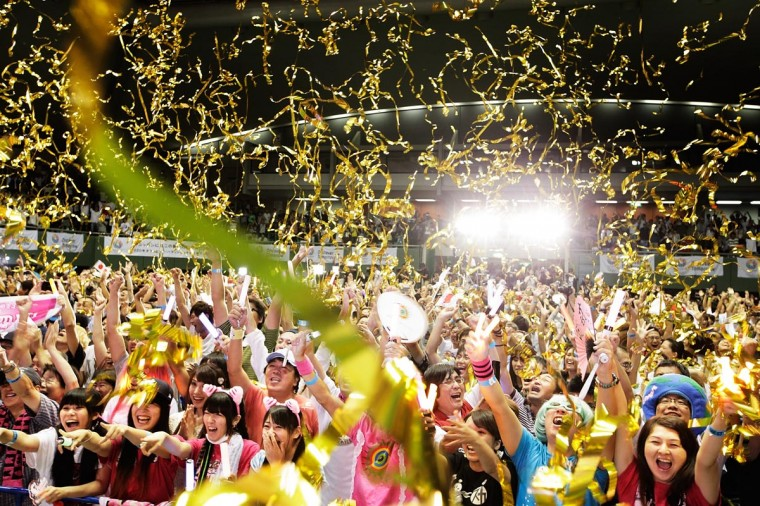 Residents of Olympic bid city Tokyo celebrate after the announcement of the 2020 Summer Olympic Games host city at Komazawa Olympic Park on September 8, 2013 in Tokyo, Japan. (Adam Pretty/Getty Images)