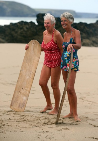 Belly boarders pose for a photograph as they take part in a senior ladies heat of the annual World Belly Boarding Championships at Chapel Porth on September 8, 2013 in Cornwall, England. (Matt Cardy/Getty Images)