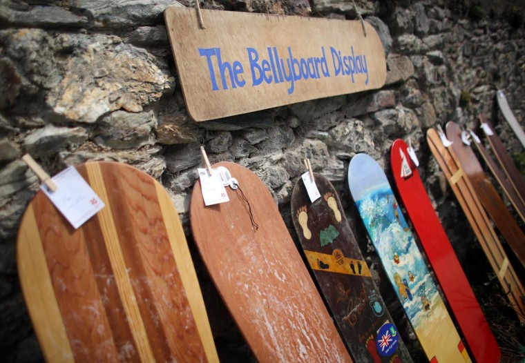 Vintage bellyboards are displayed at the annual World Belly Boarding Championships at Chapel Porth on September 8, 2013 in Cornwall, England. (Matt Cardy/Getty Images)