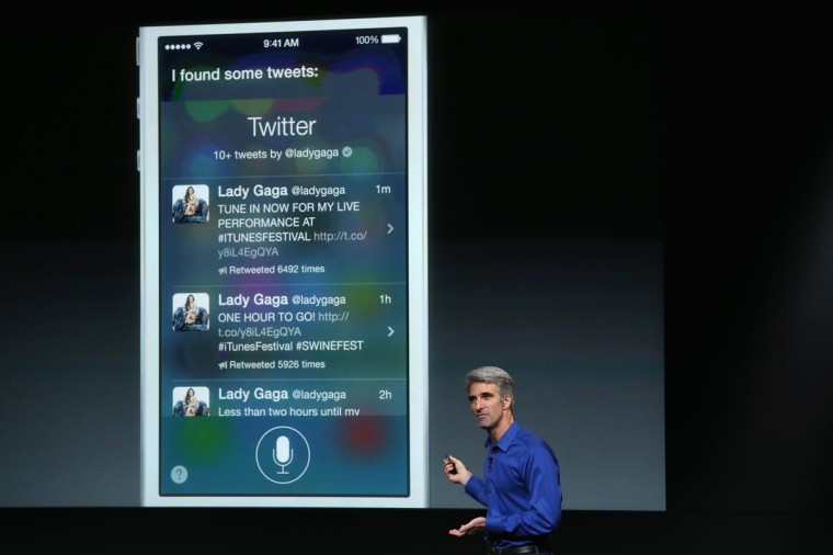 Apple Senior Vice President of Software Engineering Craig Federighi speaks about iOS 7 on stage during an Apple product announcement at the Apple campus on September 10, 2013 in Cupertino, California. (Justin Sullivan/Getty Images)