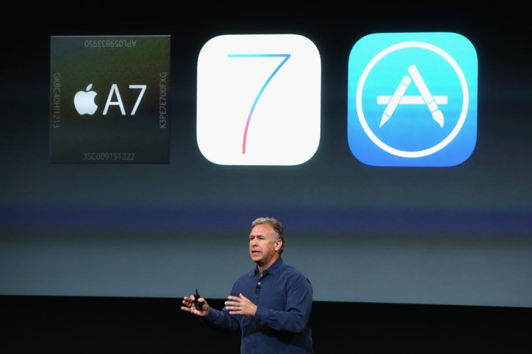 Phil Schiller, senior vice president of worldwide marketing for Apple Inc, speaks about the new iPhone 5S during an Apple product announcement at the Apple campus on September 10, 2013 in Cupertino, California. (Justin Sullivan/Getty Images)
