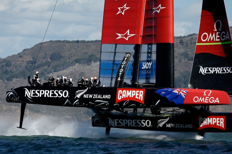 Emirates Team New Zealand warms up before the start of the final race of the America's Cup. (Photo by Ezra Shaw/Getty Images)