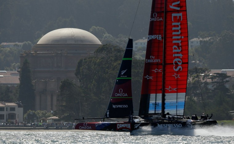 Emirates Team New Zealand warms up on the San Francisco Bay before racing against Oracle Team USA in race 17 of the America's Cup Finals. (Photo by Ezra Shaw/Getty Images)