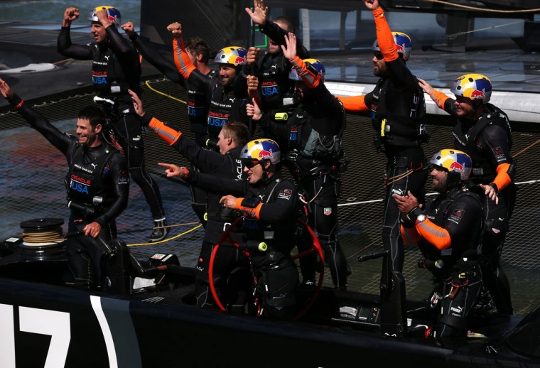 Oracle Team USA celebrates after beating Emirates Team New Zealand to defend the America's Cup during the final race. (Photo by Justin Sullivan/Getty Images)