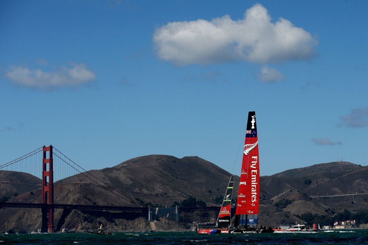 Emirates Team New Zealand and Oracle Team USA warm up before the start of the final race of the America's Cup. (Photo by Ezra Shaw/Getty Images)