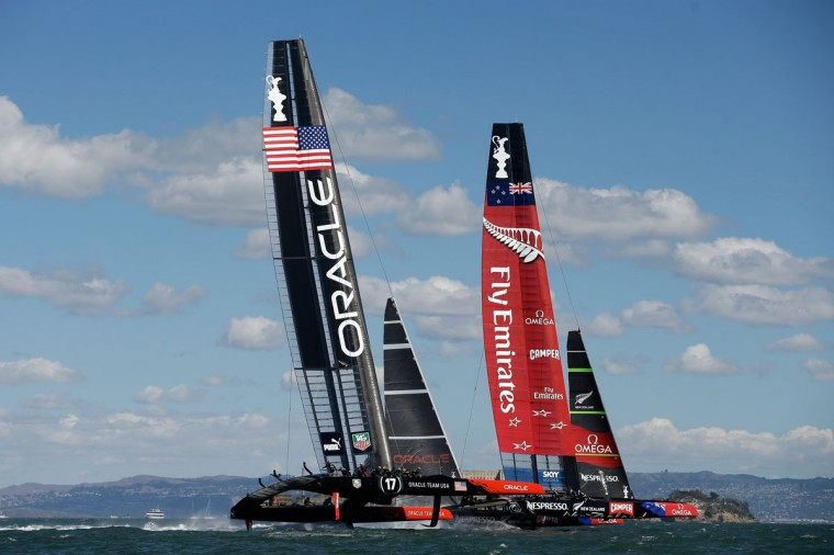 Oracle Team USA and Emirates Team New Zealand compete during the final race of the America's Cup. (Photo by Ezra Shaw/Getty Images)