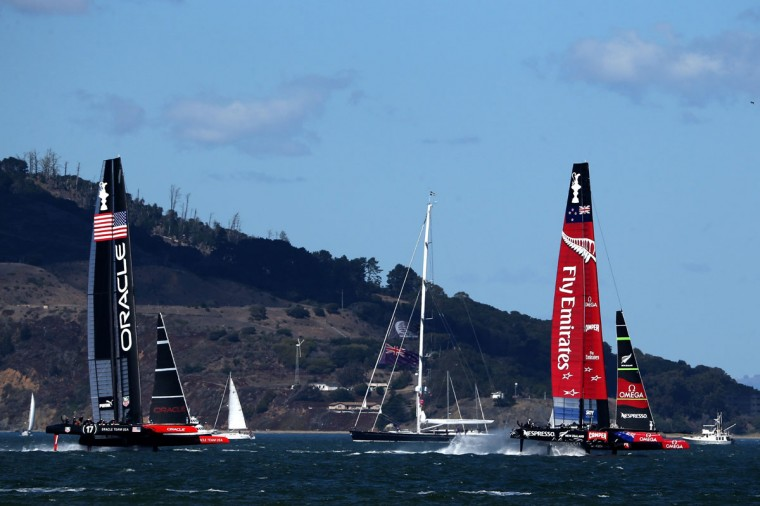 Oracle Team USA and Team New Zealand compete during the final race of the America's Cup. (Photo by Justin Sullivan/Getty Images)