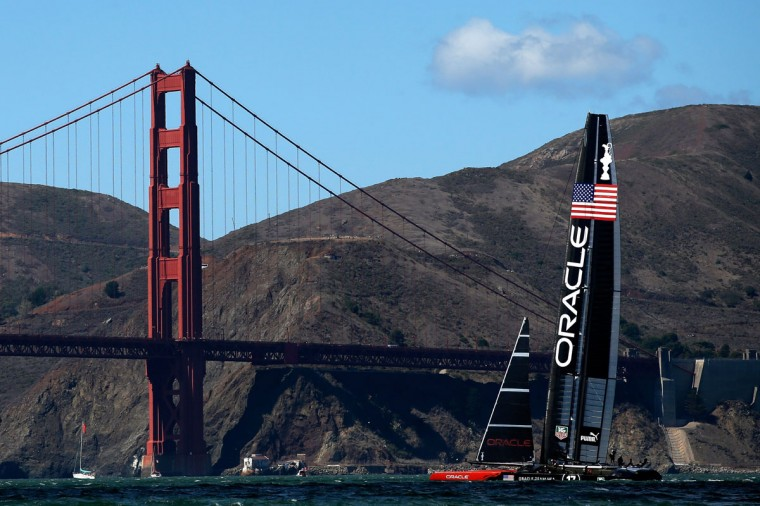 Oracle Team USA, skippered by James Spithill, warms up before the start of the final race of the America's Cup. (Photo by Ezra Shaw/Getty Images)
