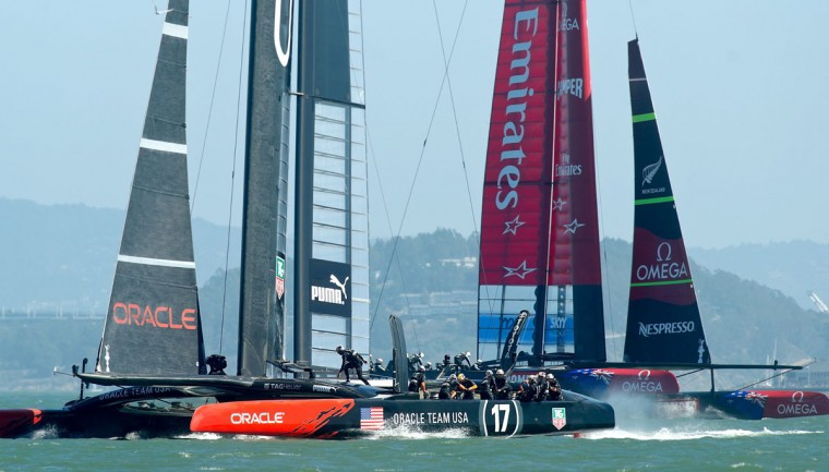 Oracle Team USA and Emirates Team New Zealand face off in America's Cup race 17. (Noah Berger / AFP/Getty Images)