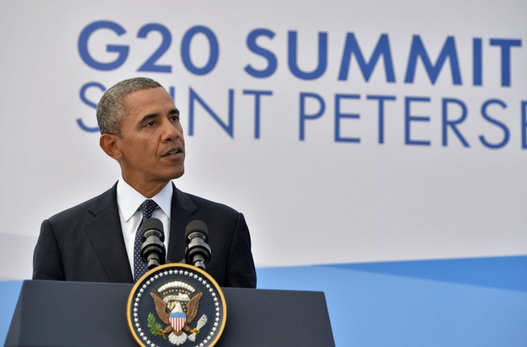 U.S. President Barack Obama speaks during a press conference in Saint Petersburg on September 6, 2013 on the sideline of the G20 summit. World leaders at the G20 summit on Friday failed to bridge their bitter divisions over U.S. plans for military action against the Syrian regime, with Washington signalling that it has given up on securing Russia's support at the U.N. on the crisis. (Jewel Samad/AFP/Getty Images)
