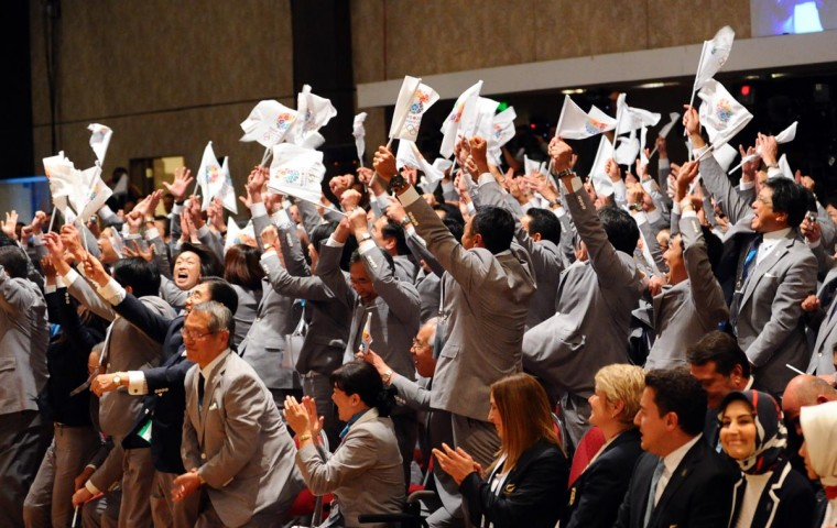 Members of Tokyo's 2020 bid celebrate after IOC President Jacques Rogge announced Tokyo as the winner to host the 2020 Summer Olympic Games, during the 125th session of the International Olympic Committee (IOC), in Buenos Aires, on September 7, 2013. (Daniel Garcia/AFP/Getty Images)