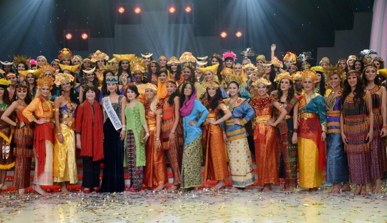 Miss World 2013 contestants pose after their parade during the opening ceremony in Nusa Dua, on the resort island of Bali on September 8, 2013. The Miss World beauty pageant opened on the resort island of Bali after a week of protests by Muslim hardliners calling for the contest to be scrapped. (Sonny Tumbel/AFP/Getty Images)