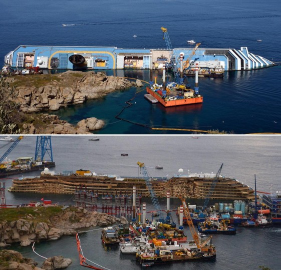 This combination made on September 17, 2013 shows a file picture taken on June 23, 2012 showing the Costa Concordia near the harbor of Giglio Porto (top) and a picture of the Concordia after being pulled upright (down) in the biggest ever project of its kind on September 17, 2013. Thirty-two people died when the ship, with 4,200 passengers onboard, hit rocks and ran aground off the island of Giglio on January 2012. (Vincenzo Pinto/AFP/Getty Images)
