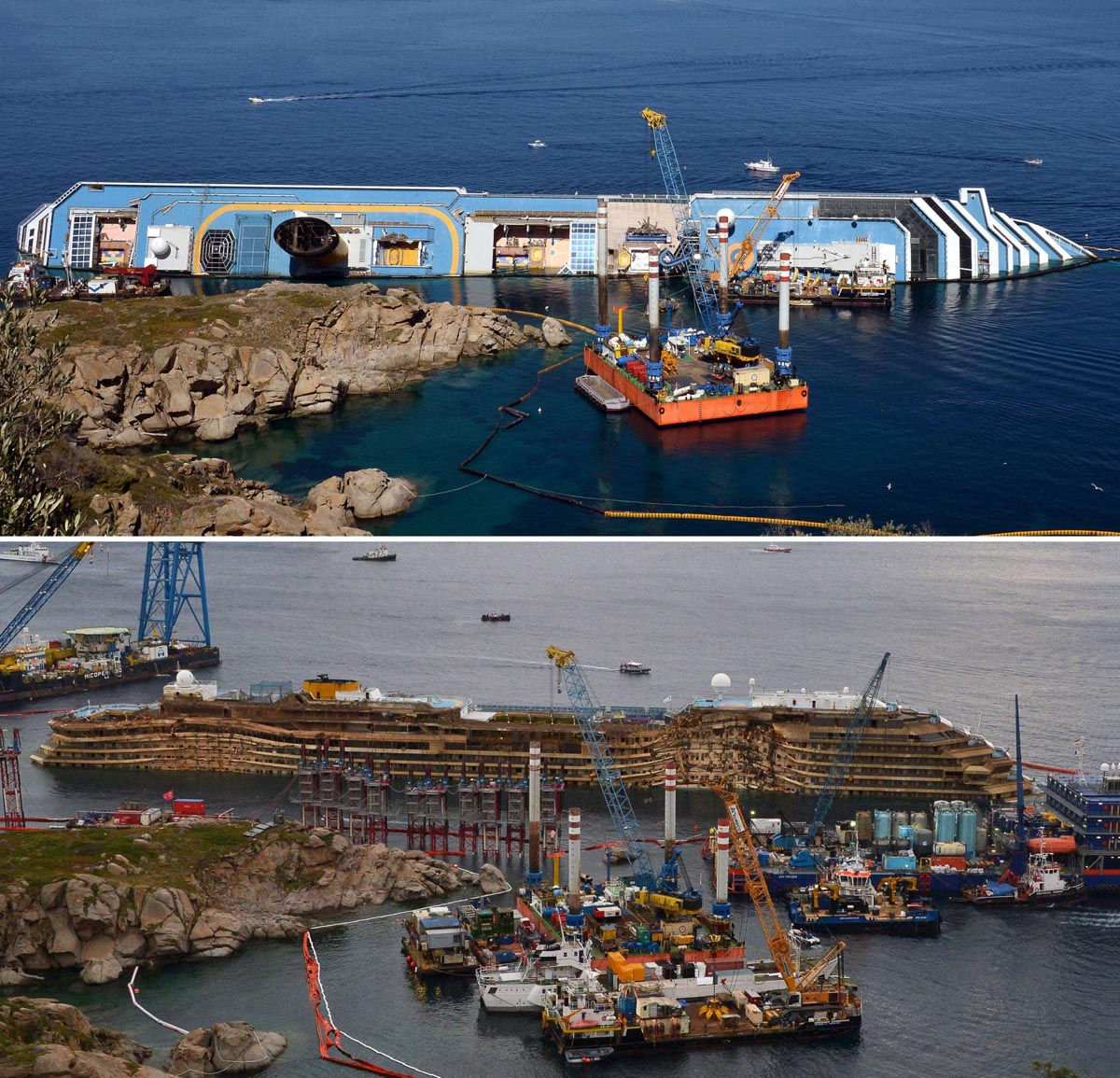Costa Concordia turned upright off coast of Italy