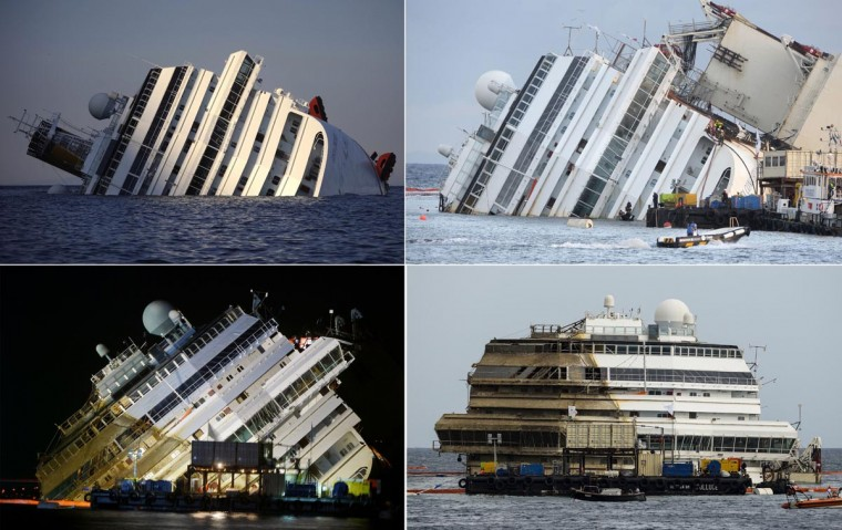 This combination made on September 17, 2013 shows four photos of the Costa Concordia, after the cruise ship ran aground and keeled over off the Isola del Giglio taken on January 14, 2012 (TopL), beginning to emerge during the salvage operation on September 16, 2013 (TopR) and (BottomL) and after he was turned upright (BottomR) on September 17, 2013. (Filippo Monteforte, Andreas Solaro, Vinecenzo Pinto/AFP/Getty Images)