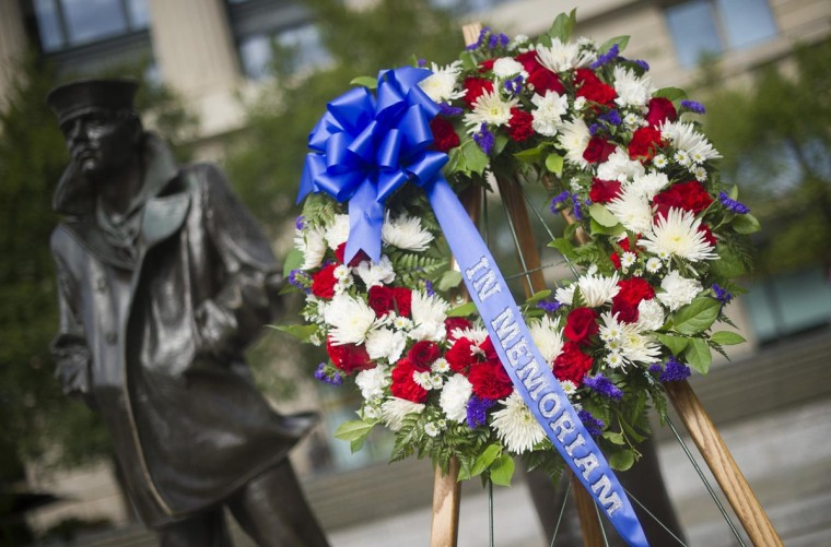 A wreath stands at the US Navy Memorial September 17, 2013 in Washington, DC, after a ceremony to honor the victims of the Washington Navy Yard Shootings. US Secretary of Defense Chuck Hagel laid the wreath with Chairman of the Joint Chiefs of Staff General Martin Dempsey. (Jim Watson/AFP/Getty Images)