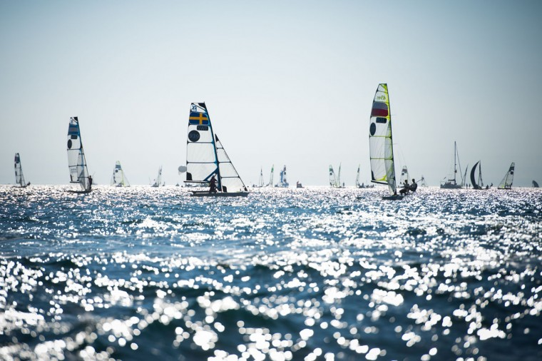 Competitors take part in a training session on the eve of the 49th monohull Sailing World Championships in Marseille, France. (Bertrand Langlois/AFP/Getty Images)