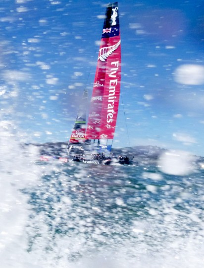 Emirates Team New Zealand heads to the start of America's Cup race 18. (Noah Berger / AFP/Getty Images)