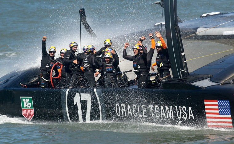 Oracle Team USA celebrates after defeating Emirates Team New Zealand in the 34th America's Cup. (Noah Berger / AFP/Getty Images)