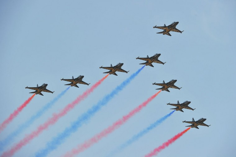 The Black Eagles perform over Seoul Air Base during the 65th anniversary of the Republic of Korea Armed Forces Day. (KIM DOO-HO / AFP/Getty Images)