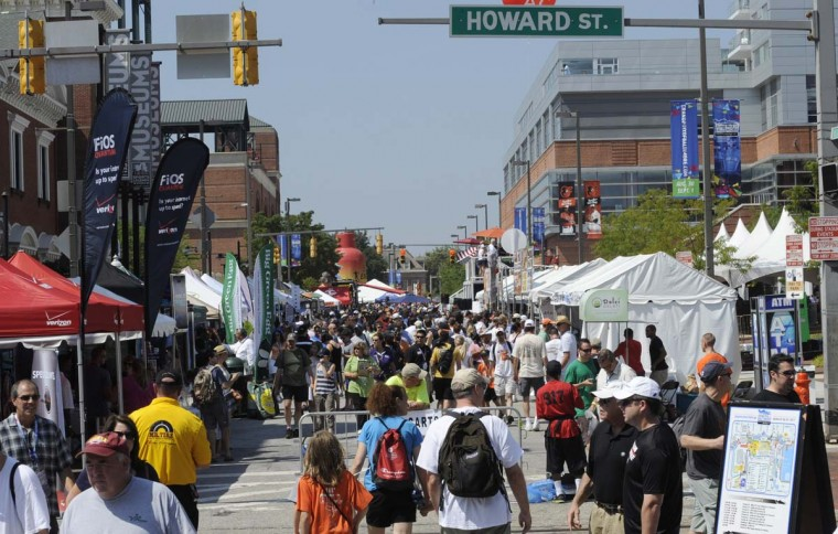 Looking west down West Camden Street at the Grand Prix of Baltimore Sunday, Sept. 1, 2013. (Jeffrey F. Bill/Baltimore Sun)