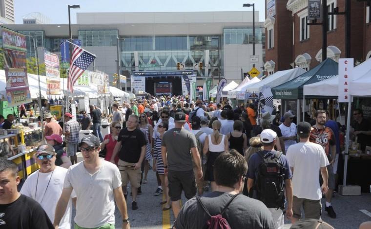 Grand Prix of Baltimore spectators on West Camden Street on Sept. 1. (Jeffrey F. Bill/Baltimore Sun)