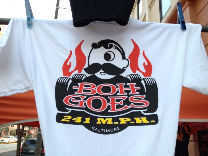 "A t-shirt for sale on South Eutaw Street for the Grand Prix of Baltimore reads ""Boh Goes 241 m.p.h."" (Amy Davis / Baltimore Sun)"