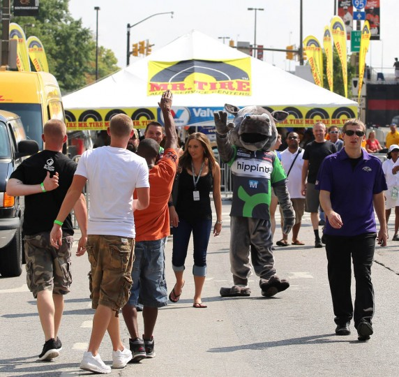 Hippino mascot waves to fans at the Baltimore Grand Prix. (Kaitlin Newman/Baltimore Sun)