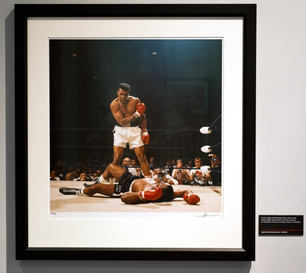 The famous Neil Leifer image of Muhammad Ali standing over Sonny Liston after knocking him down during their heavyweight bout in Lewiston, Maine. (Christopher T. Assaf/Baltimore Sun)