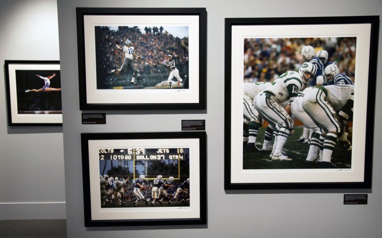 Gymnast Nadia Comaneci, quarterbacks Roger Staubach, Joe Namath and Johnny Unitas are featured in photographs by Sports Illustrated contributor Neil Leifer. (Christopher T. Assaf/Baltimore Sun)