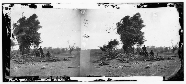 "A 3-D photo called ""View on Battle-field of Antietam"" taken by Alexander Gardner following the battle of Antietam. (Alexander Gardner/Courtesy Library of Congress)"