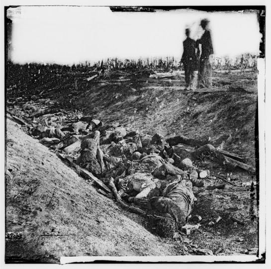 """Dead soldiers in ditch on the right wing where Kimball's brigade fought so desperately"" Sharpsburg, MD -- A photo taken at the sunken road by Alexander Gardner following the battle of Antietam. Photos were captured in stereo (or, 3-D) images. (Alexander Gardner/Courtesy Library of Congress)"