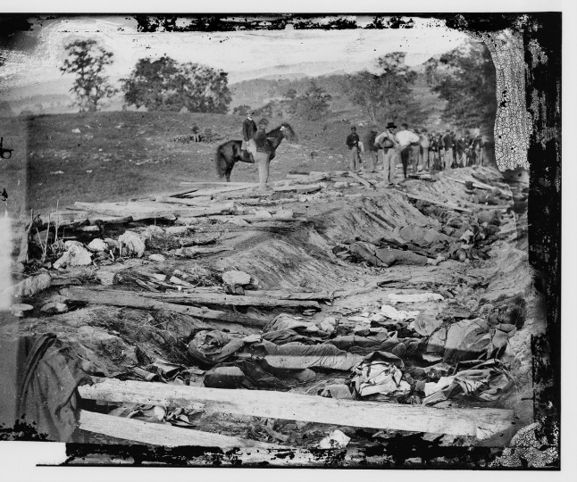 "Caption at LOC archives: ""Ditch with bodies of soldiers on right wing used as a rifle pit by Confederates"" Sharpsburg, MD . (Alexander Gardner/Courtesy Library of Congress)"