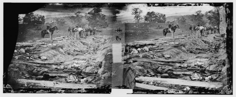 "A photo labeled ""Ditch with bodies of soldiers on right wing used as a rifle pit by Confederates"" taken by Alexander Gardner following the battle of Antietam. Photos were captured in stereo (or, 3-D) images. (Alexander Gardner/Courtesy Library of Congress)"