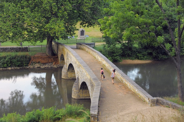 """A modern-day view of Burnside Bridge at Antietam National Battlefield. The angle, mimicking an 1862 image labeled """"Antietam Bridge (Burnside Bridge)."""" (Karl Merton Ferron/Baltimore Sun)"""