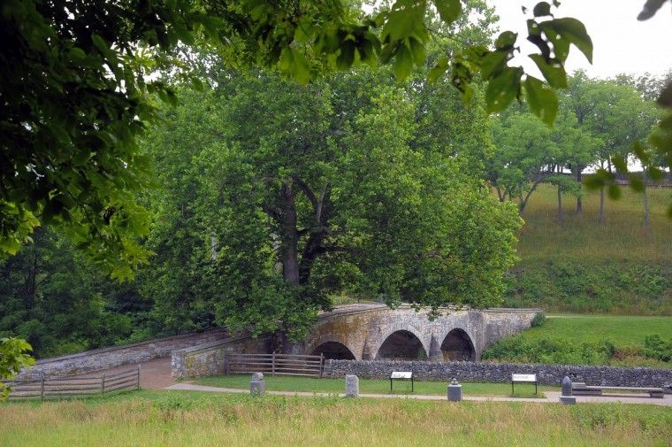 "A modern-day view of Burnside Bridge at Antietam National Battlefield. The angle, mimicking an 1862 stereo (or, 3-D) image called ""Burnside bridge"" was meant to retrace some of the well-known historic images taken by photographer Alexander Gardner only days following the carnage in Sharpsburg. (Karl Merton Ferron/Baltimore Sun)"