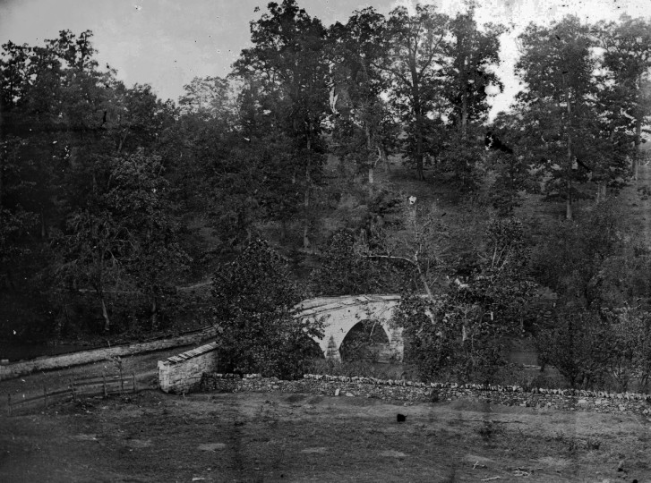 "A photo taken by Alexander Gardner that he labeled ""Antietam Bridge"", following the battle of Antietam Sept., 1862. (Alexander Gardner/Courtesy Library of Congress)"