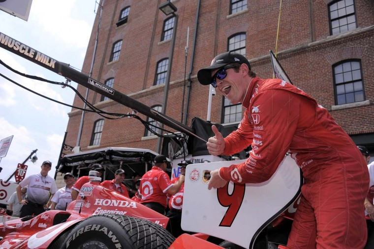 Scott Dixon's No. 9 car sits in pit row as he celebrates getting the pole position for the IZOD IndyCar Series during the 2013 Grand Prix of Baltimore second day Saturday, Aug. 31, 2013. (Karl Merton Ferron/Baltimore Sun Staff)