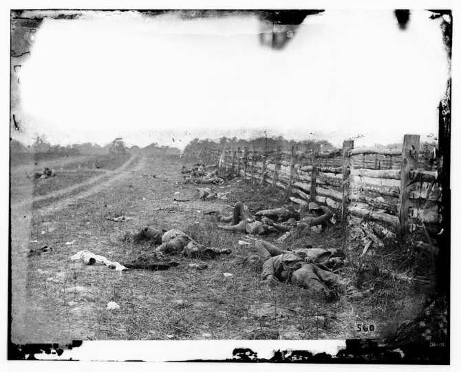 "The right portion of a 3-D photo taken by Alexander Gardner that he labeled """"Confederate dead by a fence on the Hagerstown road"" following the battle of Antietam Sept., 1862. (Alexander Gardner/Courtesy Library of Congress)"