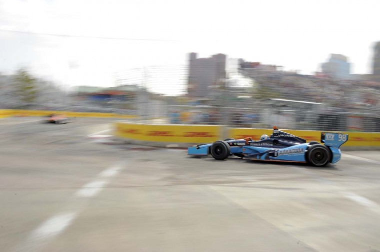 Indy cars speed toward the first turn during the 2013 Grand Prix of Baltimore Friday, Aug. 30, 2013. (Karl Merton Ferron/Baltimore Sun)