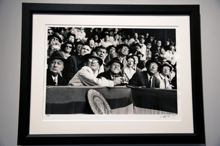 "Neil Leifer photograph of President John F. Kennedy, center, on opening day 1961 in Washington, D.C. Sports Legends Museum's ""Images We Remember -The World of Neil Leifer."" (Christopher T. Assaf/Baltimore Sun)"
