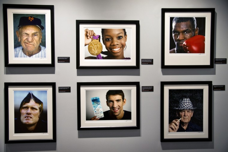 "Michael Phelps is included among the images by Neil Leifer. Sports Legends Museum's ""Images We Remember -The World of Neil Leifer"" exhibit which will be on display until October 2014. (Christopher T. Assaf/Baltimore Sun)"