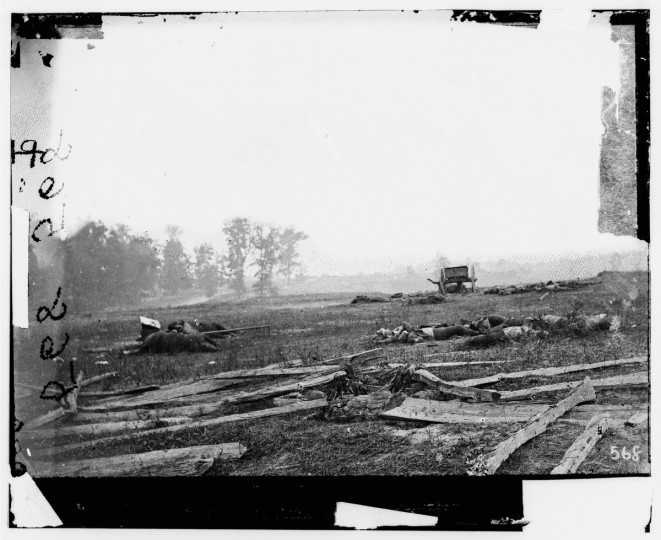 "The right portion of a 3-D photo taken by Alexander Gardner labeled ""View where Sumner's Corps charged"" following the battle of Antietam Tuesday, Oct. 2, 2001. Photos were captured in stereo (or, 3-D) images. (Alexander Gardner/Courtesy Library of Congress)"