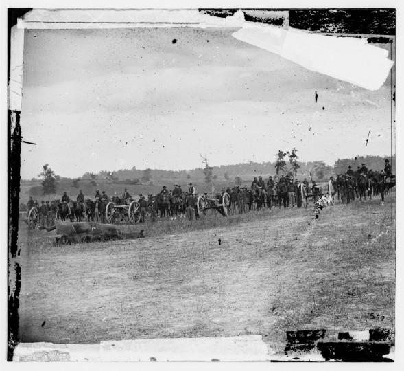 "The left portion of a 3-D photo taken called ""Captain J.M. Knap's Penn. Independent Battery 'E' Light Artillery"" by Alexander Gardner following the battle of Antietam. Photos were captured in stereo (or, 3-D) images. (Alexander Gardner/Courtesy Library of Congress)"