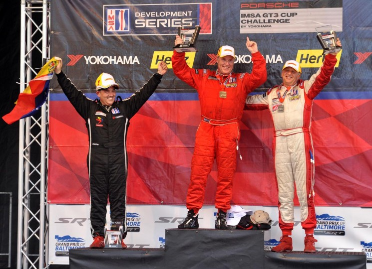 IMSA GT3 Cup Race #2 winners at the Grand Prix: From left, Danny Gianfresco (2nd place), David Williams (1st place), and Michael Levitas (3rd place). Amy Davis /Baltimore Sun).