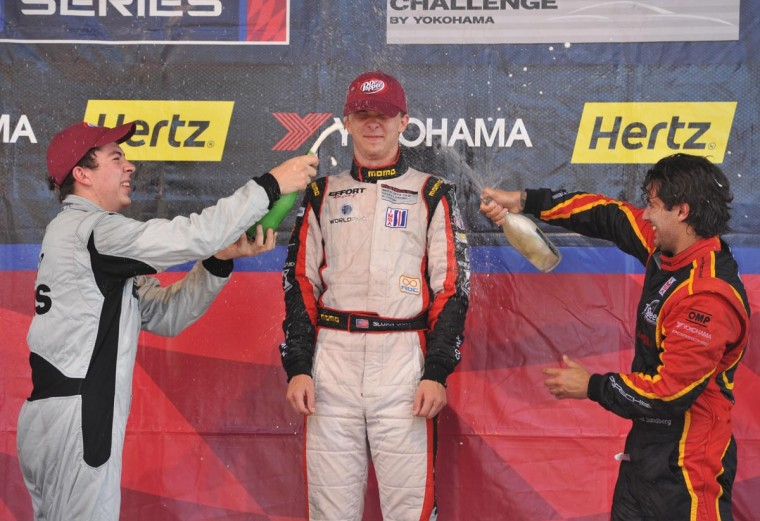 IMSA GT3 Cup Race #2 Platinum Cup winners at the Grand Prix (L to R): Madison Snow (2nd), Sloan Urry (1st), and Brett Sandberg (3rd). (Amy Davis/Baltimore Sun)