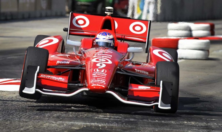 IZOD Indycar Series Grand Prix of Baltimore pole position driver Scott Dixon goes over a chicane during the last practice before racing Sunday, Sept. 1, 2013. (Kenneth K. Lam/Baltimore Sun)