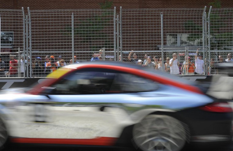 Race fans watch the GT3 Gold Cup Challenge at the Grand Prix of Baltimore on Sept. 1, 2013. (Lloyd Fox/Baltimore Sun)