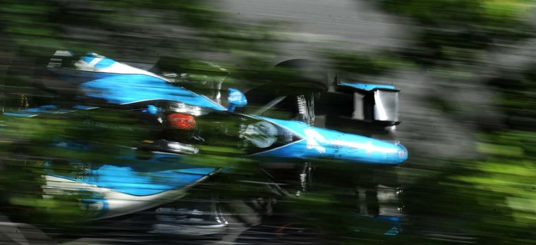 Simon Pagenaud heads down Conway Street out of Turn 4 during the Grand Prix of Baltimore on Sept. 1, 2013. (Jerry Jackson/Baltimore Sun)