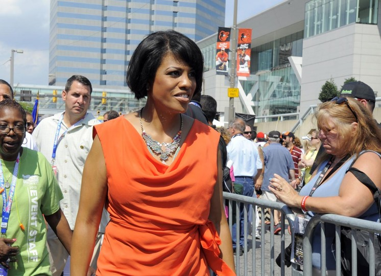 Baltimore Mayor Stephanie Rawlings-Blake is introduced at the Grand Prix of Baltimore on Sept. 1, 2013. (Lloyd Fox/Baltimore Sun)